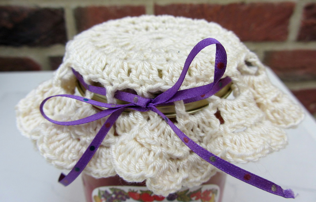 Cream crocheted jar lid cover