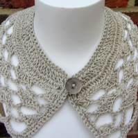 SALE Crochet collar in beige cotton yarn.  Reduced in price.