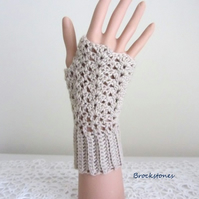 Fingerless texting mittens in beige