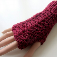 Fingerless texting mittens -  baby alpaca - merino wool - red