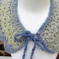 Crochet collar in shades of blue and pale green