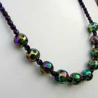 Colourful rainbow bead necklace