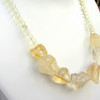 Citrine chunky handmade necklace