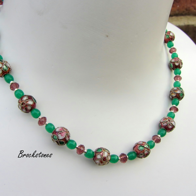 Cloisonne necklace red green handmade