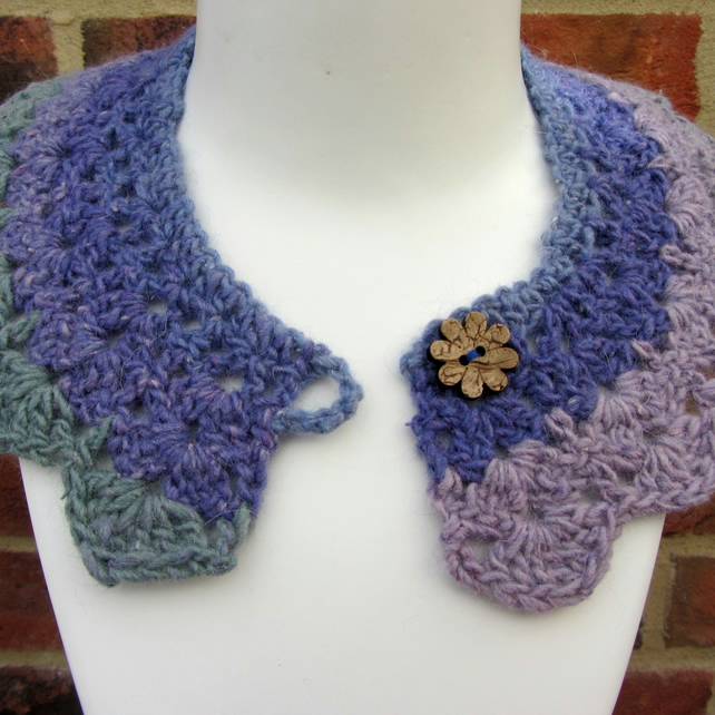 Crochet collar in shades of purple green and pink