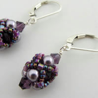 Swarovski pearl and crystal hand beaded earrings in shades of mauve