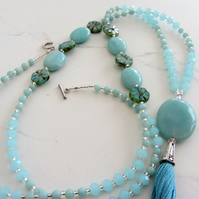 Amazonite tassel necklace