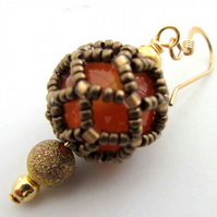 Orange Carnelian earrings enhanced with netting stitch Virgo Leo