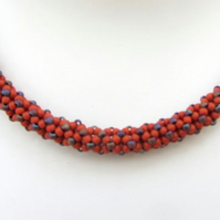 Terracotta and blue beadwoven necklace