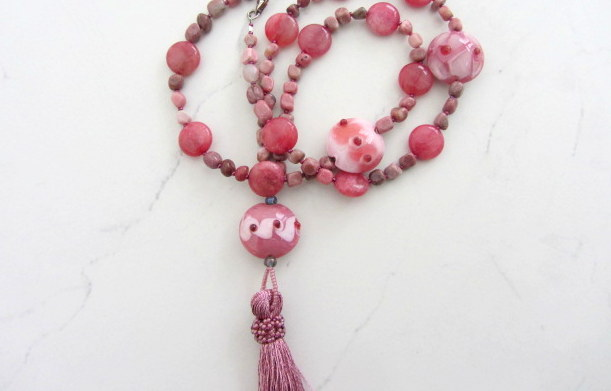 Tassel necklace with Rhodonite stones and pink Jasper   Pisces birthstone gift