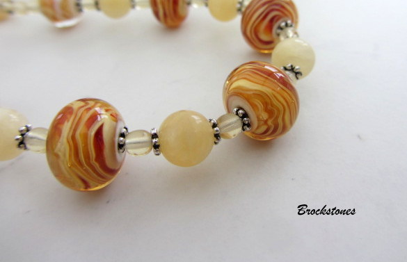 Tiger stripe artglass lampwork necklace