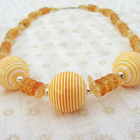 Citrine chips and yellow stripey ball necklace