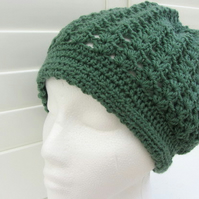 Slouchy crochet Beanie hat in woodland green