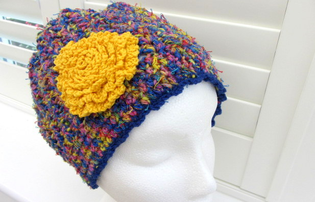 88b14e5526e9f Slouchy crochet Beanie hat in blue yellow and red - Folksy
