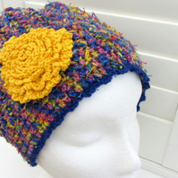 Slouchy crochet Beanie hat in blue yellow and red