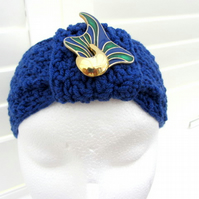 Headwrap - turban - blue - merino wool - crochet