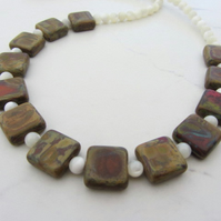 Autumn colours necklace with Czech Table Cut beads and Mother of Pearl