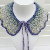 Crocheted  collar in shades of blue and pale green