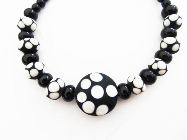 Black and cream polka dot lampwork necklace