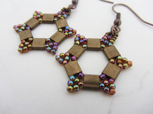 Hexagonal bronze earrings hand woven