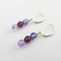 Swarovski Elements facetted crystal earrings in pink purple and blue