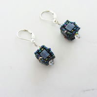 Earrings slate grey cube shaped earrings Sterling silver lever back earwires