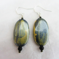 Mustard and Charcoal Grey oval earrings