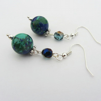 Navy blue and turquoise sterling silver earrings