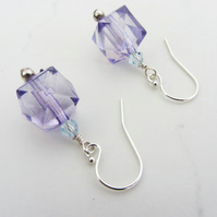Facetted cube earrings with sterling silver earwires