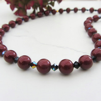 Swarovski Bordeaux deep red pearl necklace