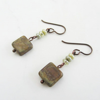 Czech table cut beaded earrings