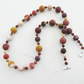 Matt frosted Mookaite necklace in shades of mustard and deep reds