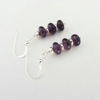 January Birthstone earrings Amethyst with sterling silver