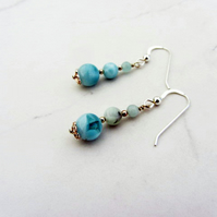 Moss agate earrings with sterling silver