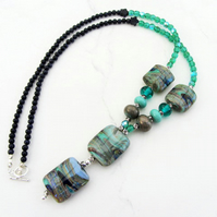 Abstract green lampwork glass pendant  necklace