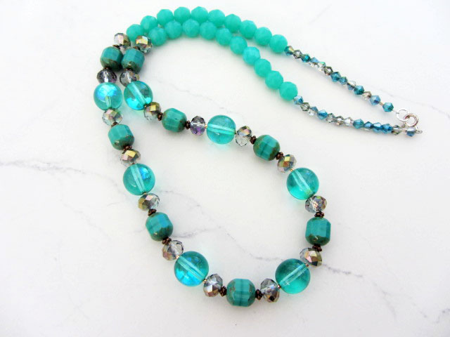 Seafoam green beaded summer necklace