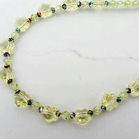 Glass necklace with Swarovski crystals in Jonquil yellow