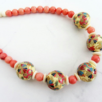 Coral and bone necklace