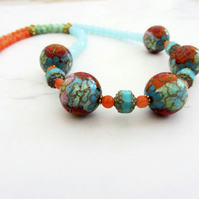Cloisonne necklace in red, orange, green, blue and pink