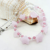 Pink flower necklace for summer
