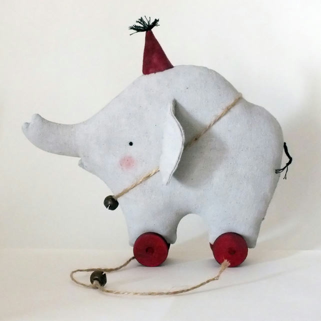Primitive Elephant pull toy