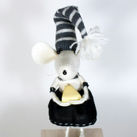 Cashmere mouse on a block soft sculpture
