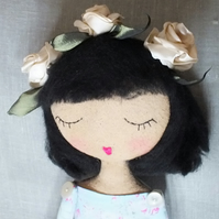 REDUCED Heirloom Floral headband cloth doll