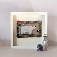 Folk art ,patchwork,applique,embroidery Polar Bear framed picture