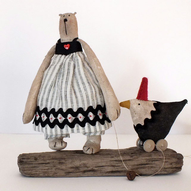 Primitive Beryl Bear and Betty Soft Sculpture