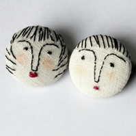 2 Button Brooches