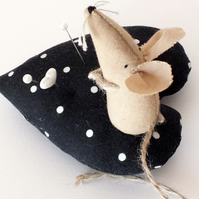 Mouse on a heart pin cushion