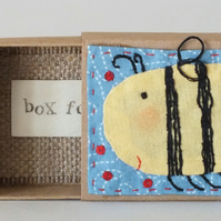 Applique ,embroidered ,bee seed box