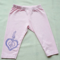 3-4 year old girl's hand dyed & block printed leggings SALE
