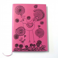 notebook-  cerise and black ink drawing